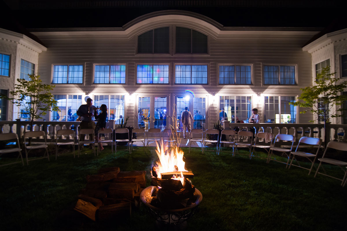 Bonfire outside a Blue Harbor Resort weddingreception.
