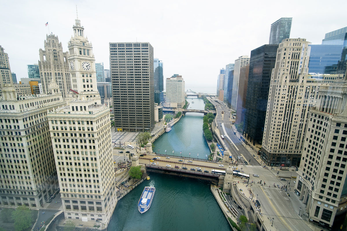 View of the Chicago River from the Trump Tower before a wedding.
