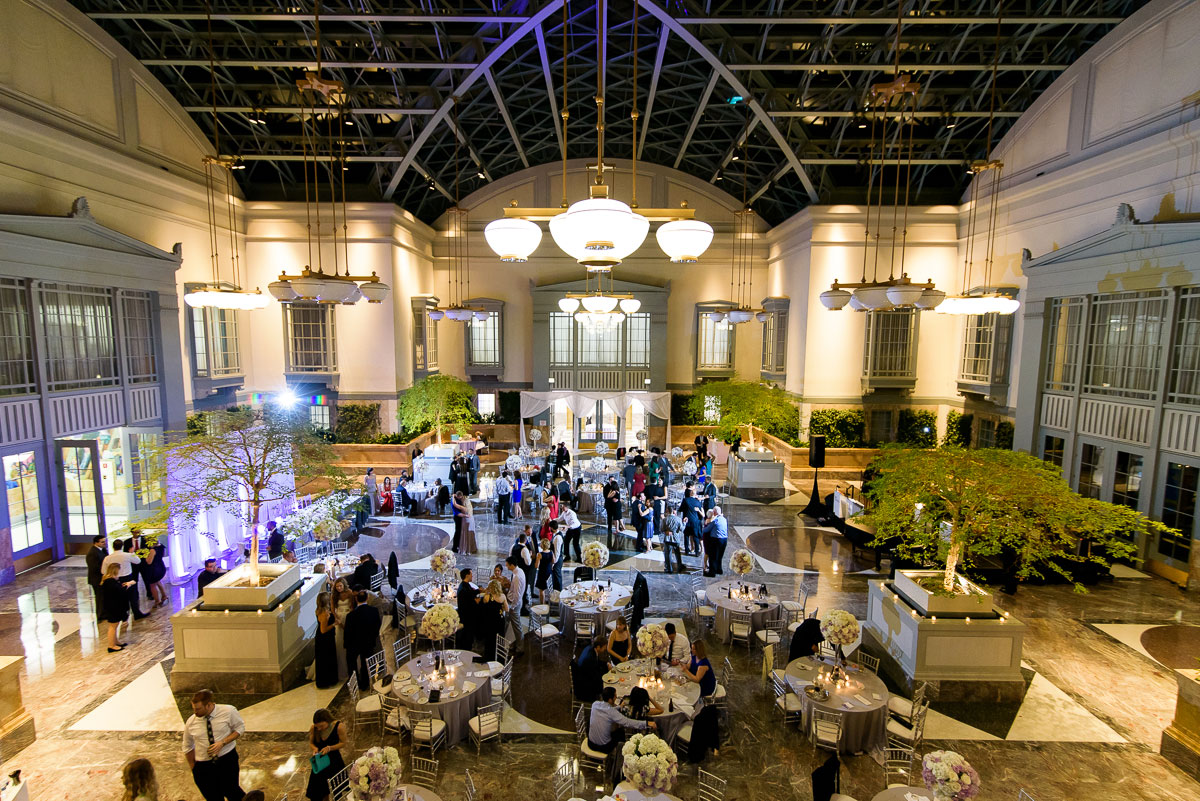 A wedding reception at the   Winter Garden in the Harold Washington Library Chicago.