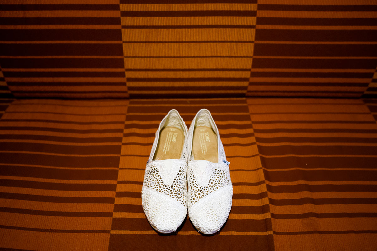 Bridal shoe detail photo at the James Hotel.