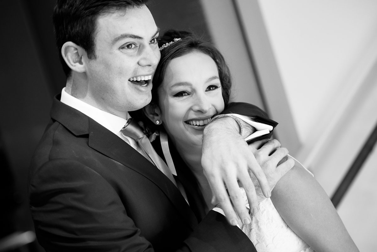 Bride & groom share a moment after their first look at the James Hotel Chicago.