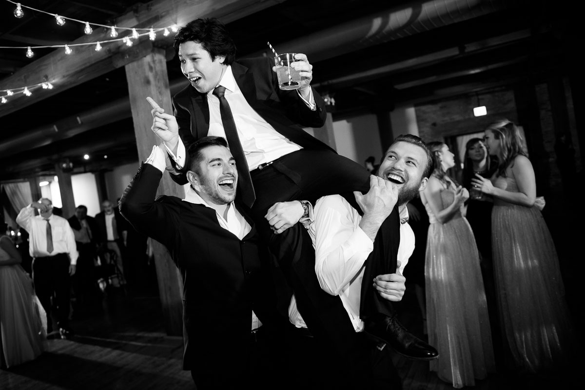 Guests dance during a Bridgeport Arts Center wedding.