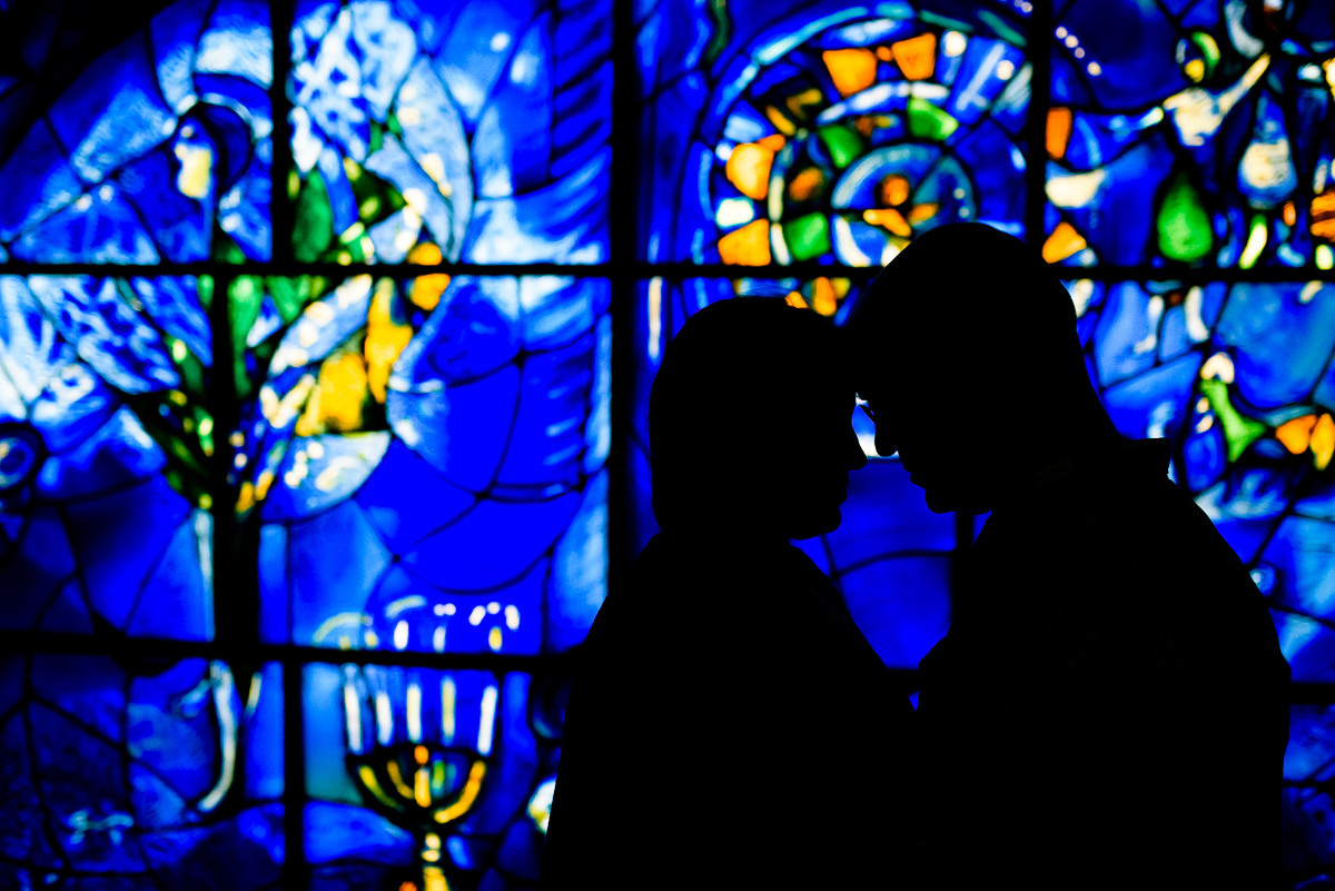 Bride & groom in front of the Chagall Windows at the Art Institute Chicago.