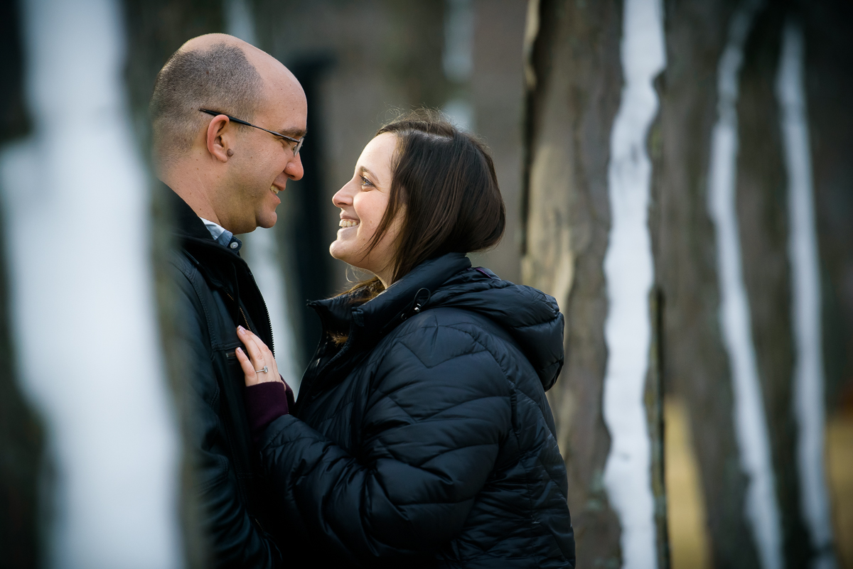 Winter engagement session photo at Milton Olive Park Chicago.