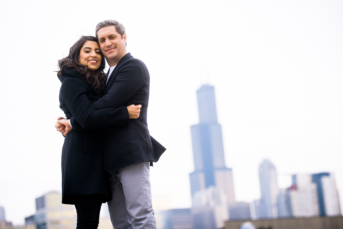 Chicago engagement session with the Sears Tower in the background.