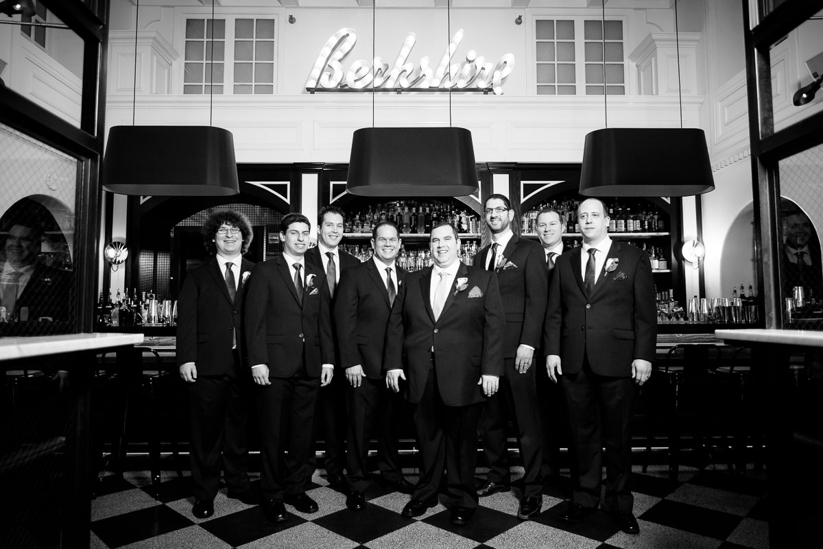 Portrait of the groomsmen at The Berkshire Room in Chicago.