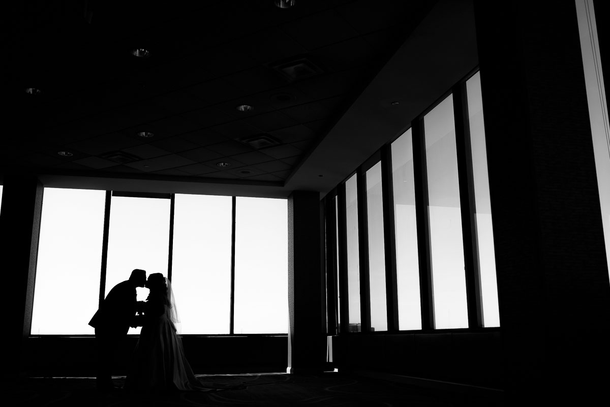 Bridal silhouette on the top floor of the DoubleTree Skokie on the couple's wedding day.