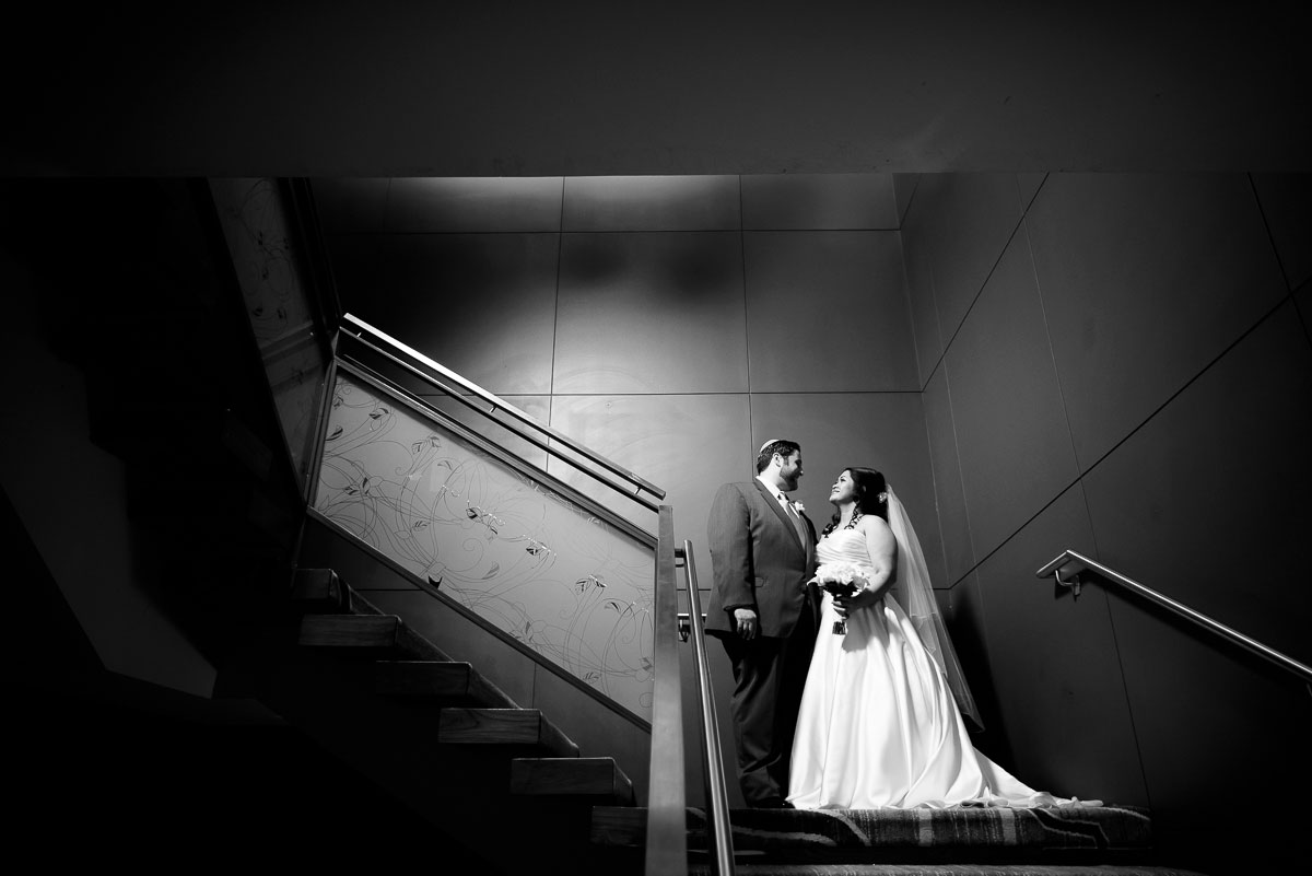Creative wedding portrait inside the DoubleTree Skokie.