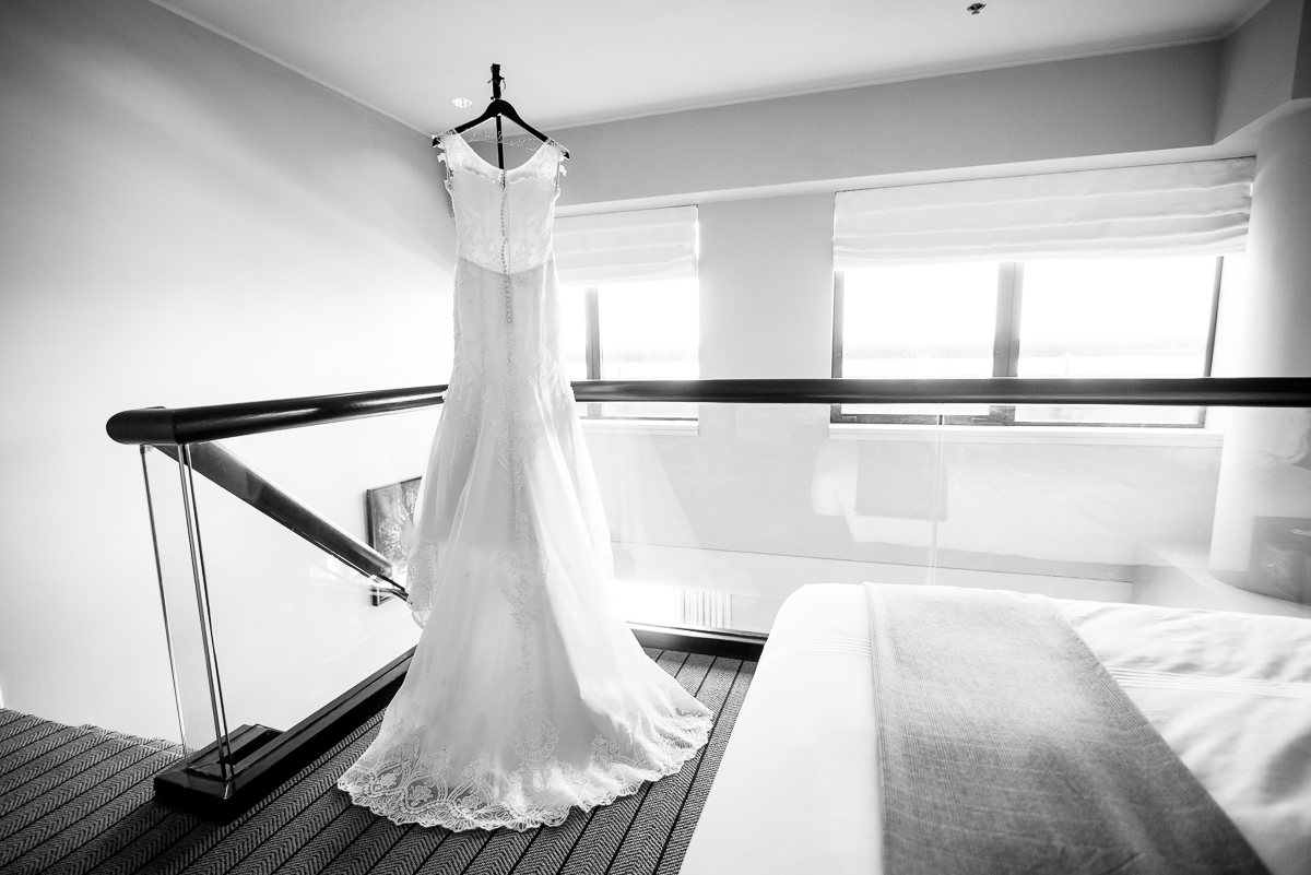Detail photo of the wedding dress at the Thompson Chicago.