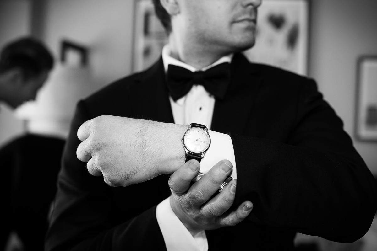 Groom getting ready before his Thompson Chicago wedding.