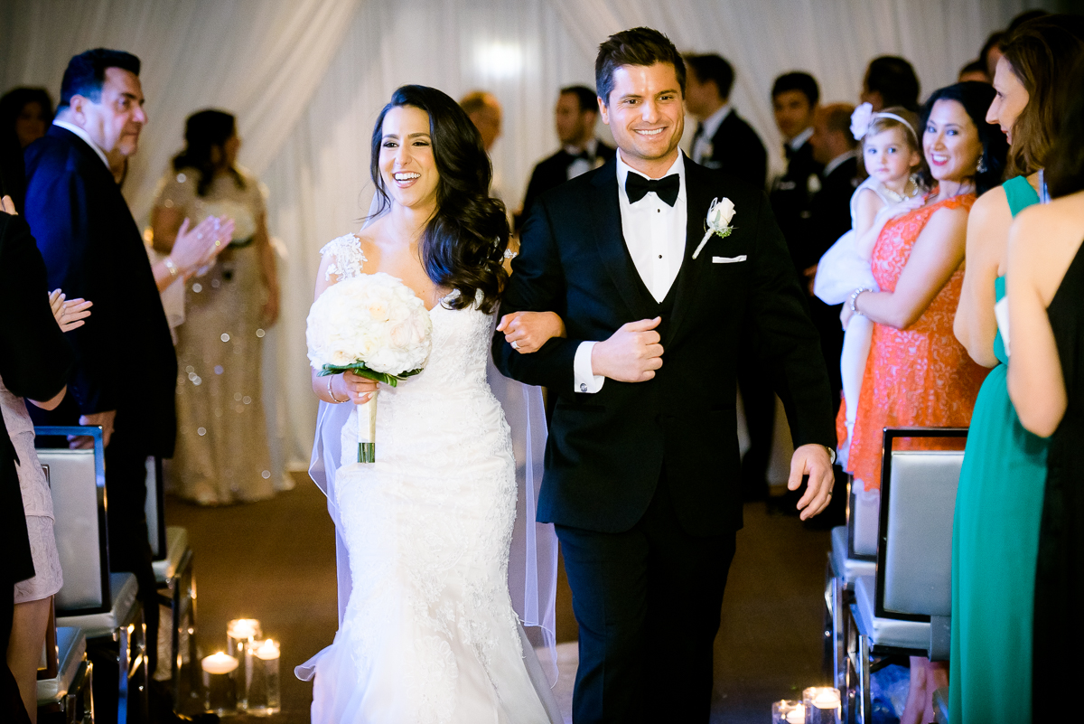 Newly married couple during a Thompson Chicago wedding.