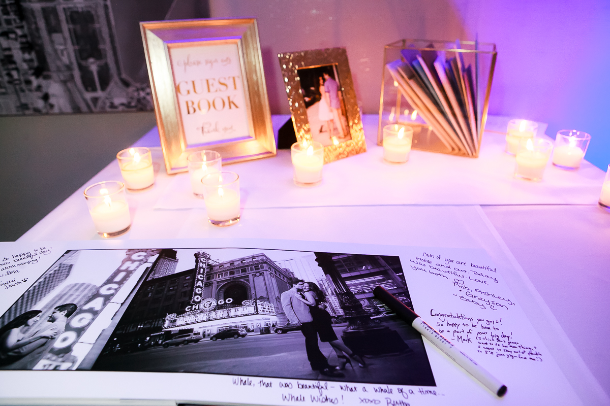 J. Brown Photography guestbook at the sign-in table during a Thompson Chicago wedding.