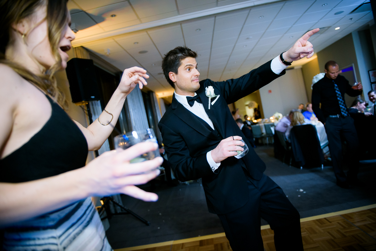 Groom hits the dance floor during his wedding at the Thompson Chicago.
