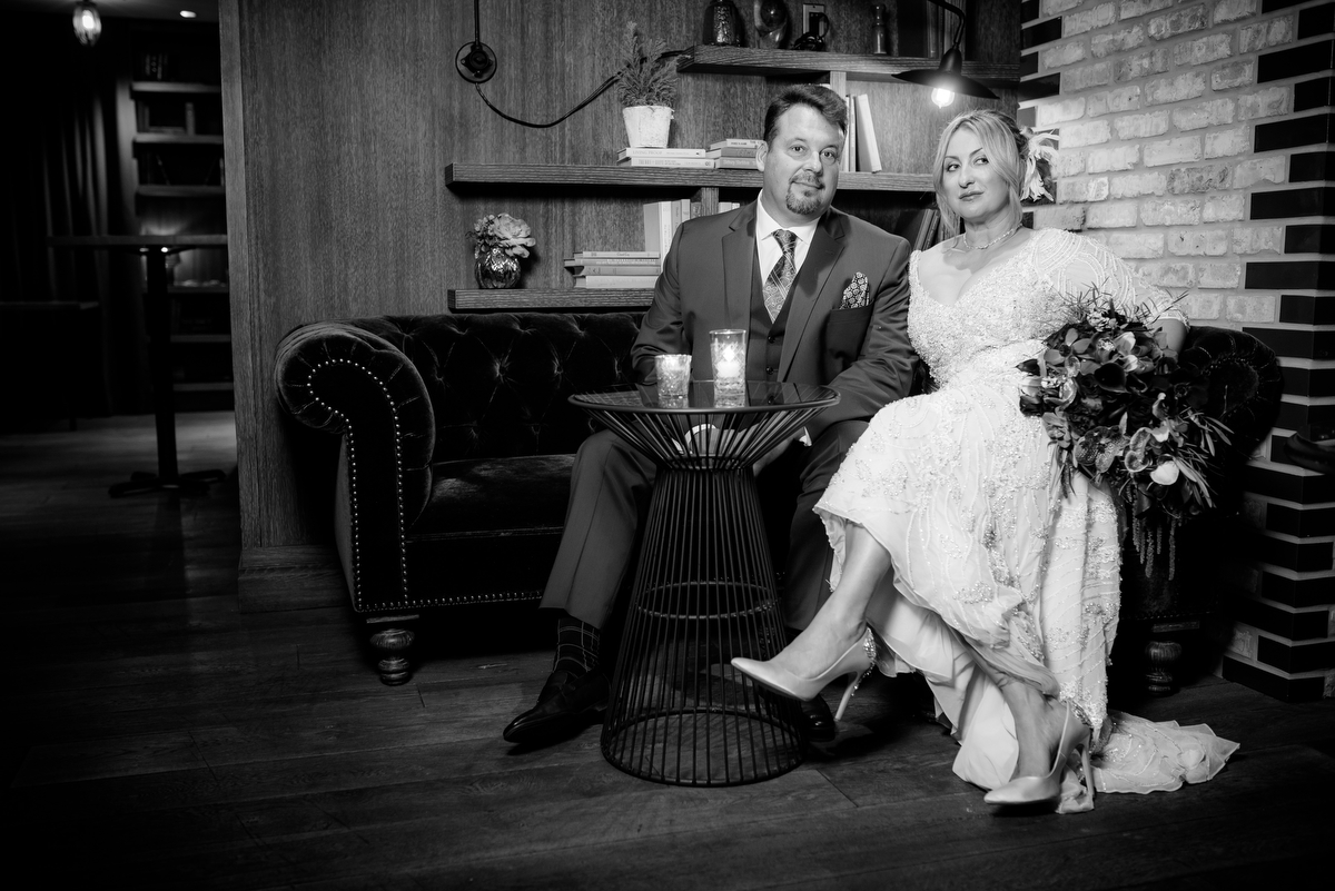 Fun wedding photo of the couple at the Thompson Chicago.