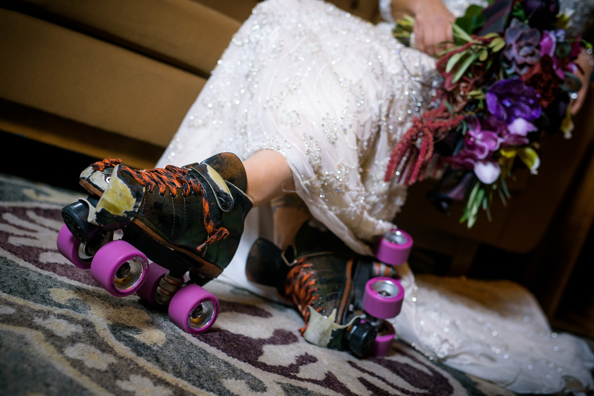 Detail wedding photo of bride, and former Windy City Roller, in her roller skates at the Thompson Chicago.
