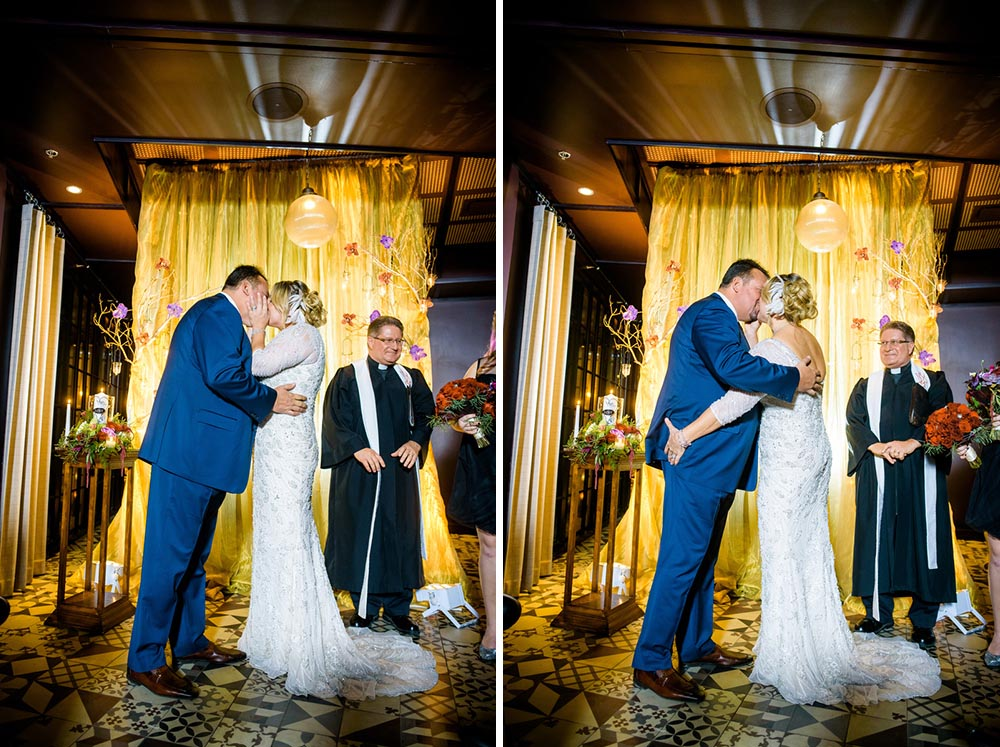 First kiss during a New Year's Eve wedding at the Thompson Chicago.