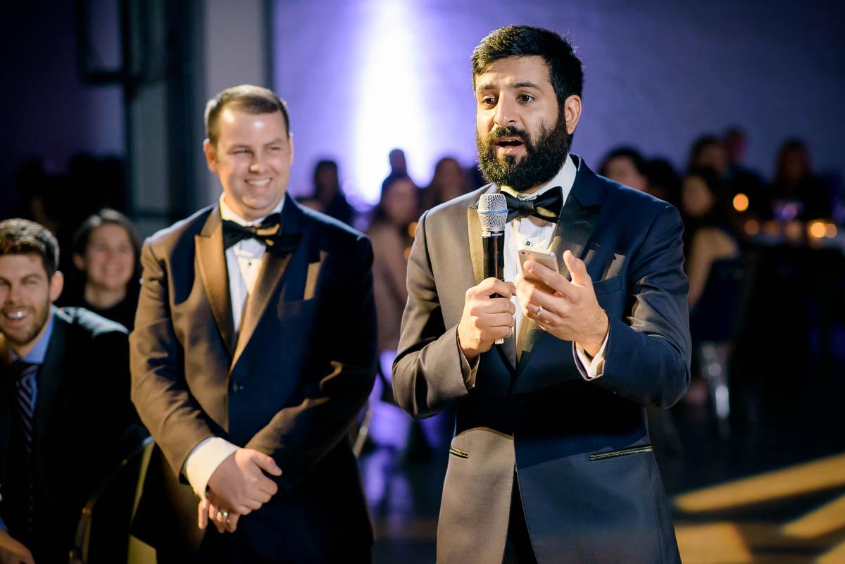 Best man speech during a Moonlight Studios Chicago wedding.