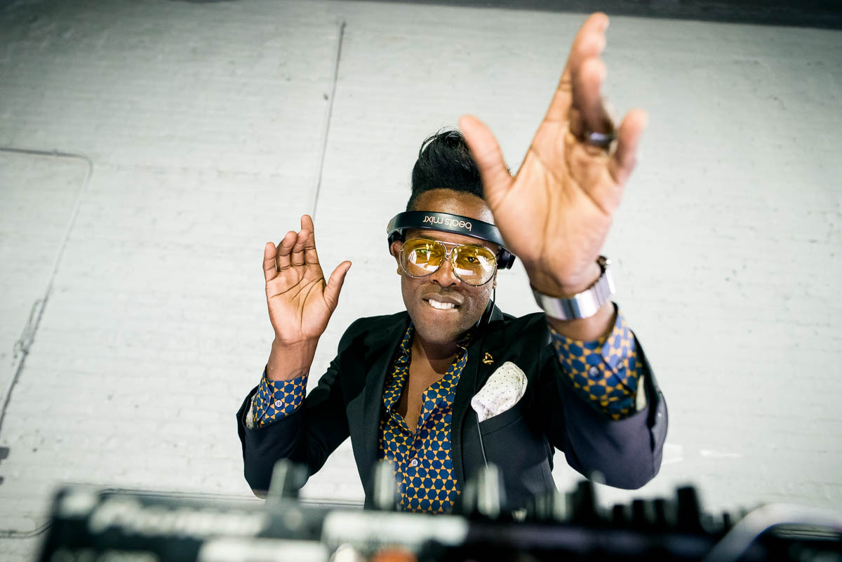 DJ Timothee Lovelock during a Moonlight Studios Chicago wedding.