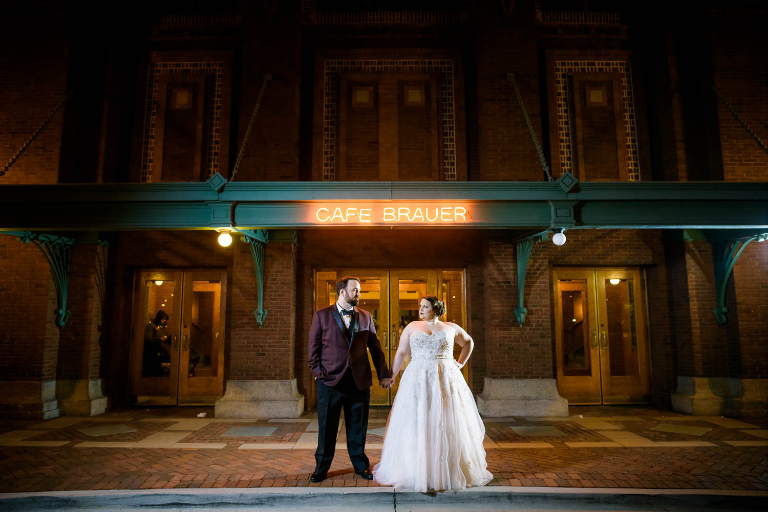 Night portrait of bride & groom during their Cafe Brauer Chicago wedding.