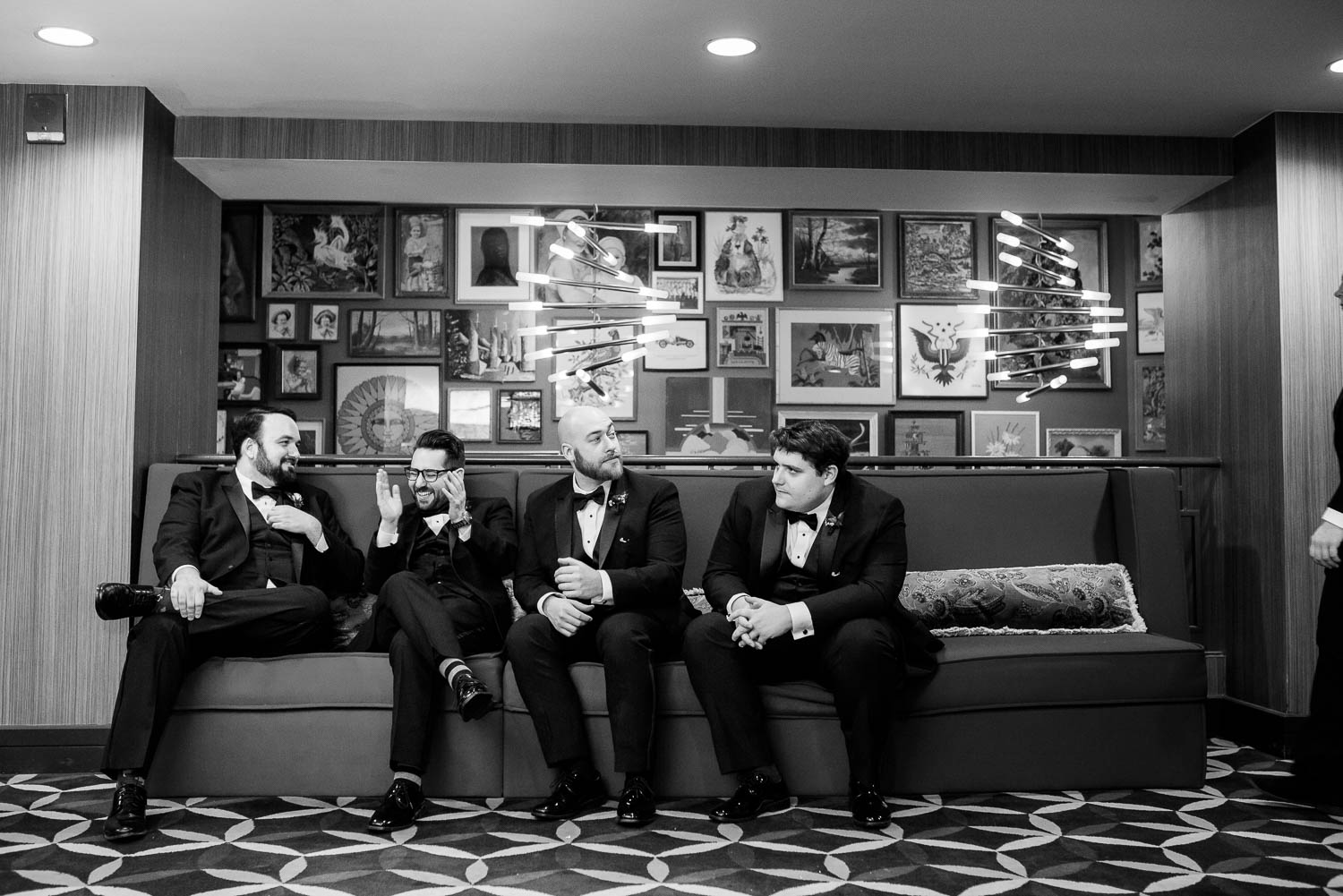 Groomsmen at Hotel Lincoln during a Chicago wedding.
