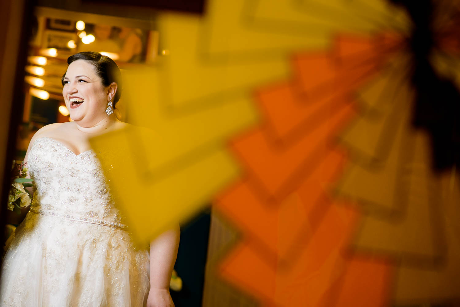 Creative portrait of the bride at Hotel Lincoln during a Chicago wedding.