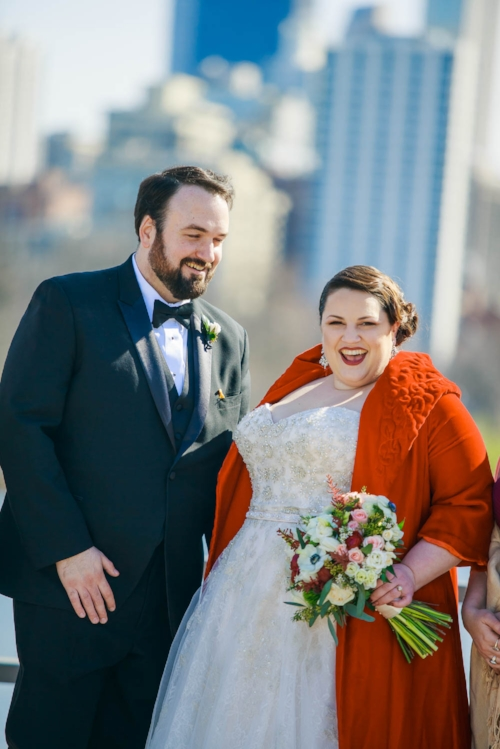 Moment-driven portrait of bride and groom at Lincoln Park for their Cafe Brauer wedding.