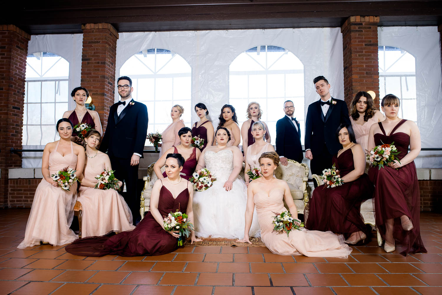 Creative bridal party wedding portrait at Cafe Brauer.