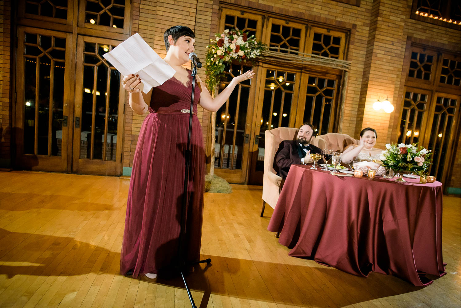 Maid-of-honor speech during a Cafe Brauer wedding reception Chicago.