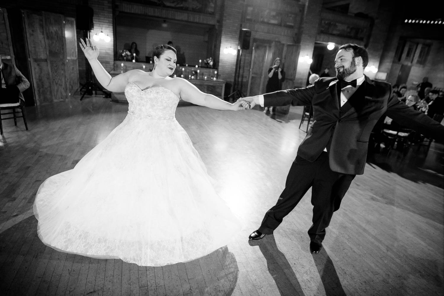 Couple's first dance during their Cafe Brauer wedding reception.
