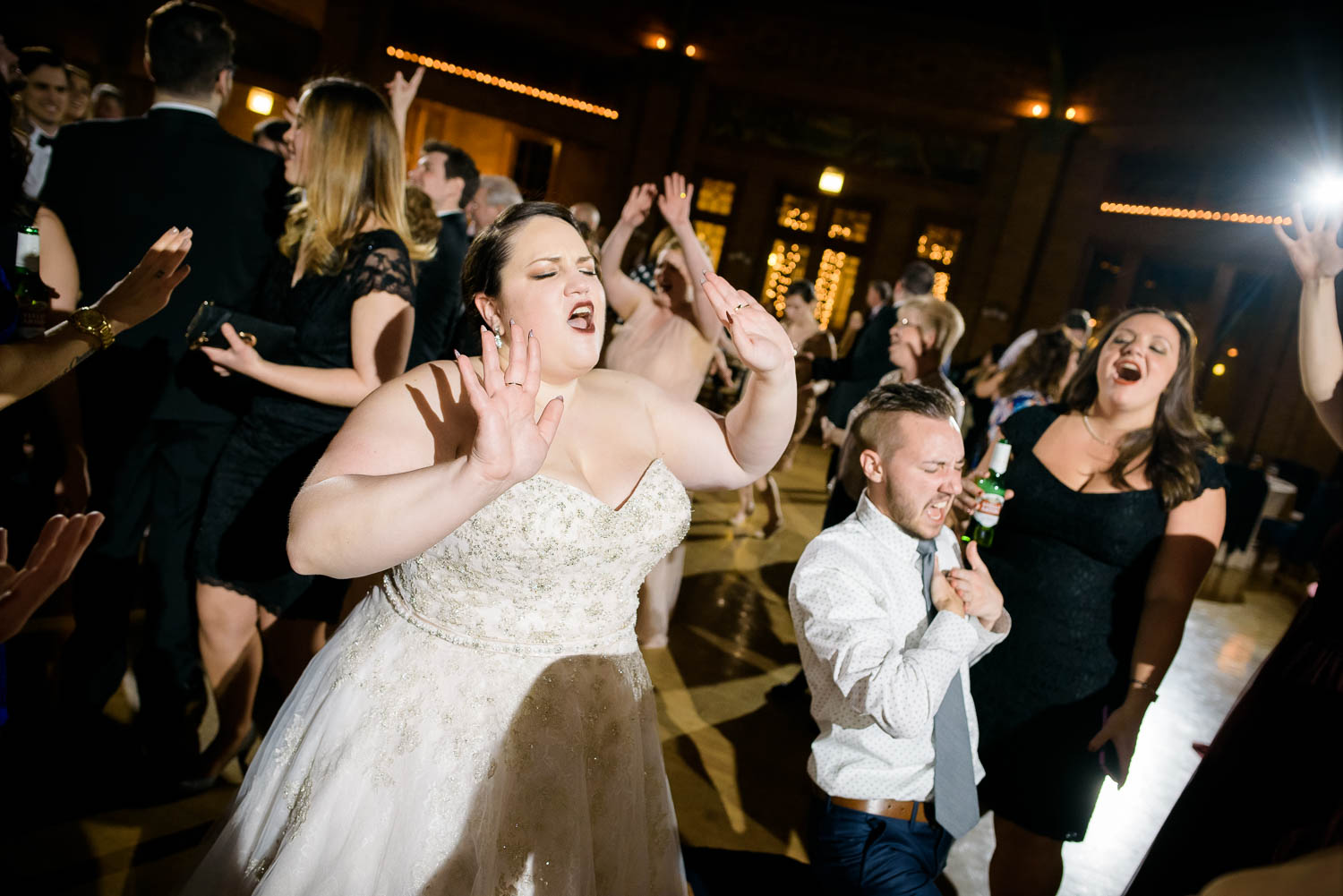 Fun dance floor moment during a Cafe Brauer wedding reception in Chicago.