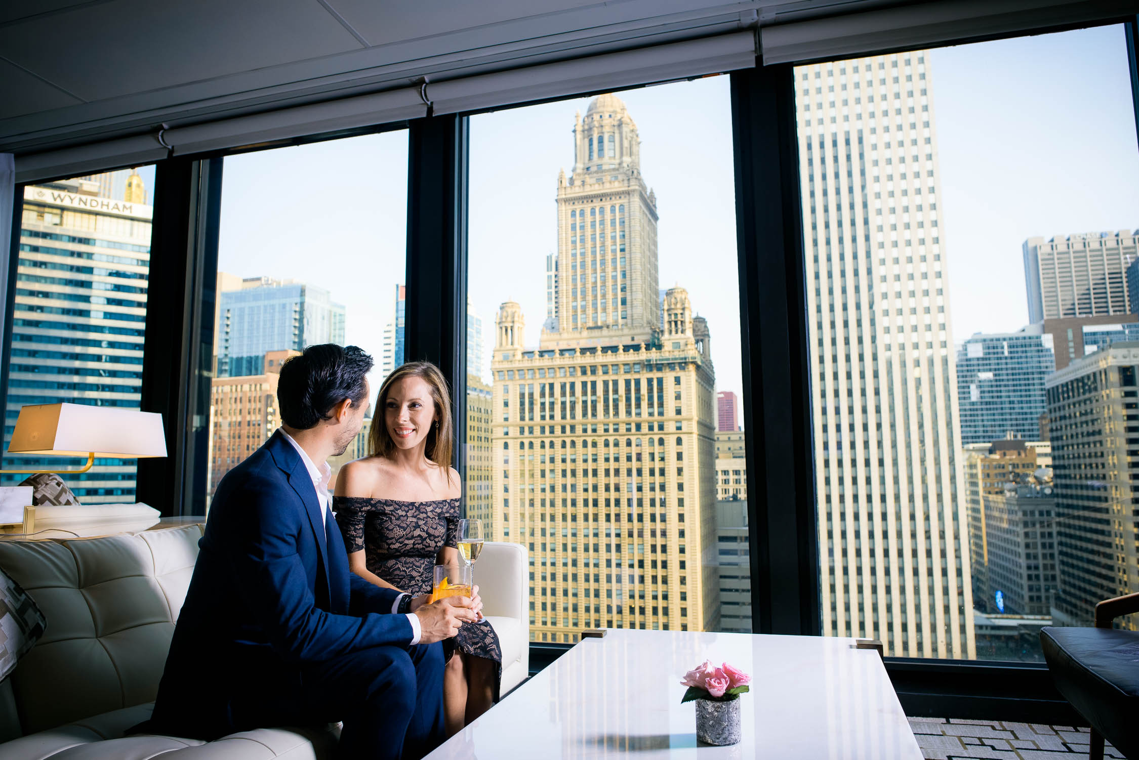Views of downtown Chicago from the Langham Hotel during an engagement session.