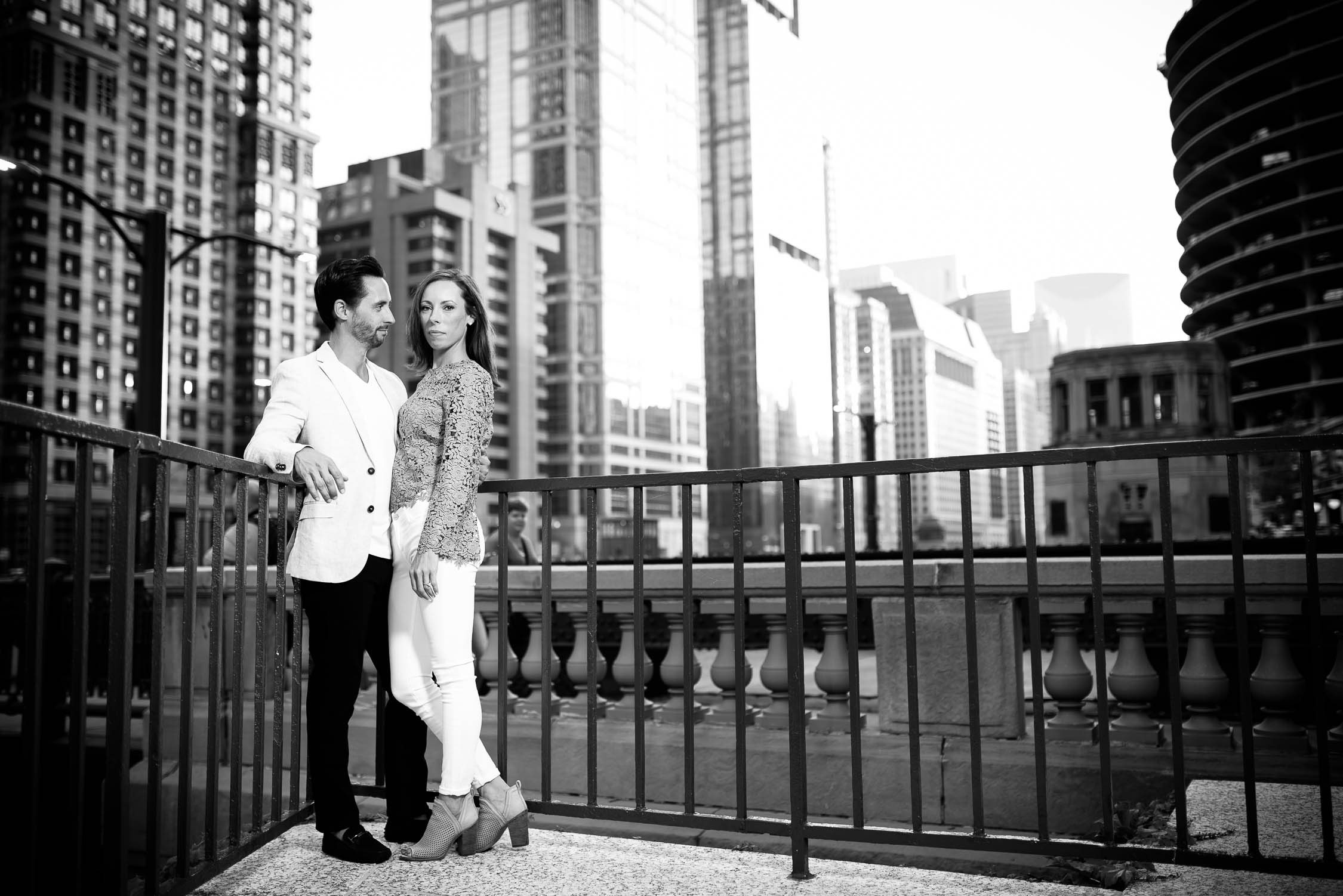 Chicago engagement session on the Chicago river.