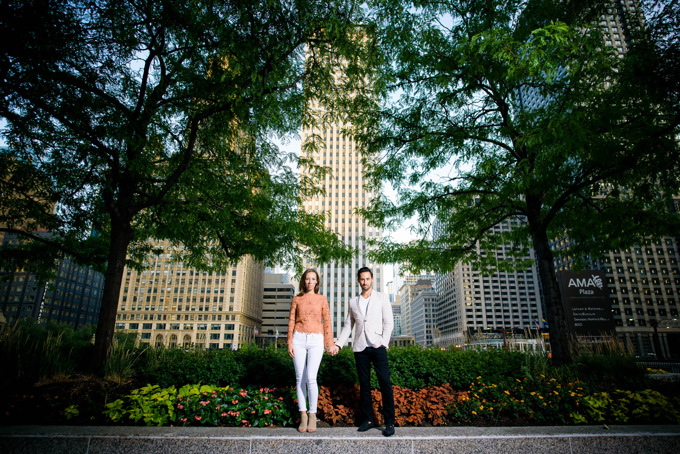 Chicago engagement session along the Riverwalk.