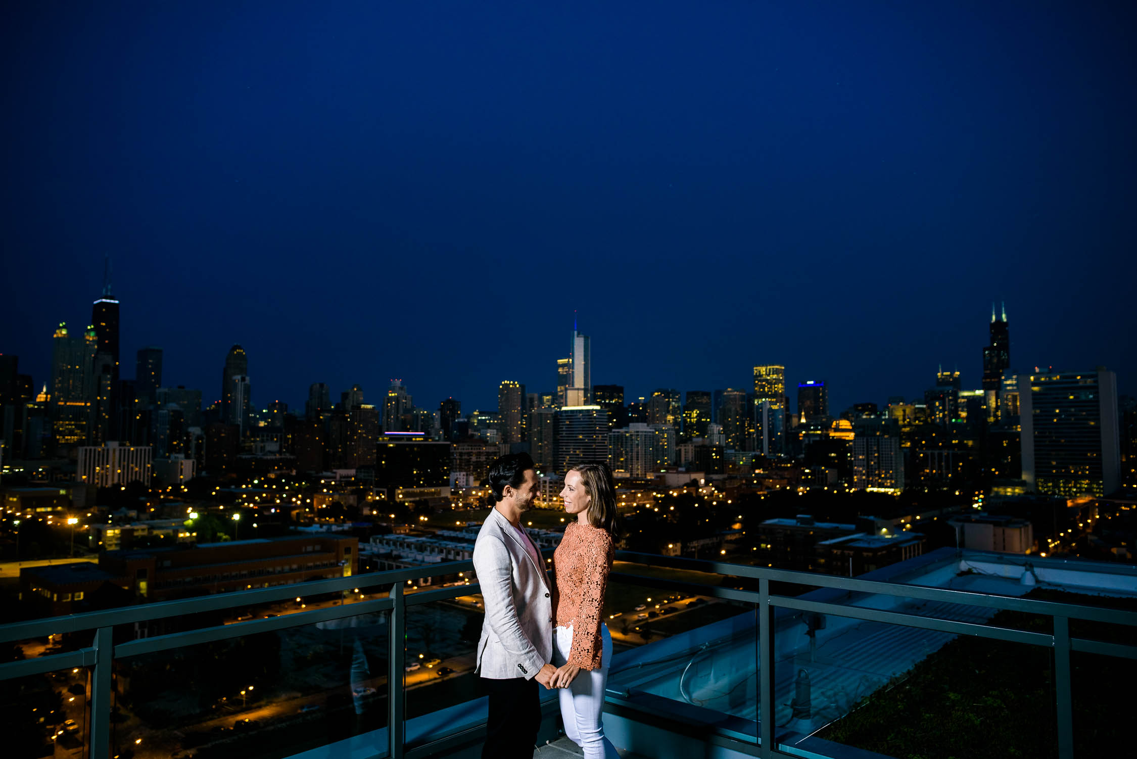 Engagement portrait at dusk with the Chicago Skyline.