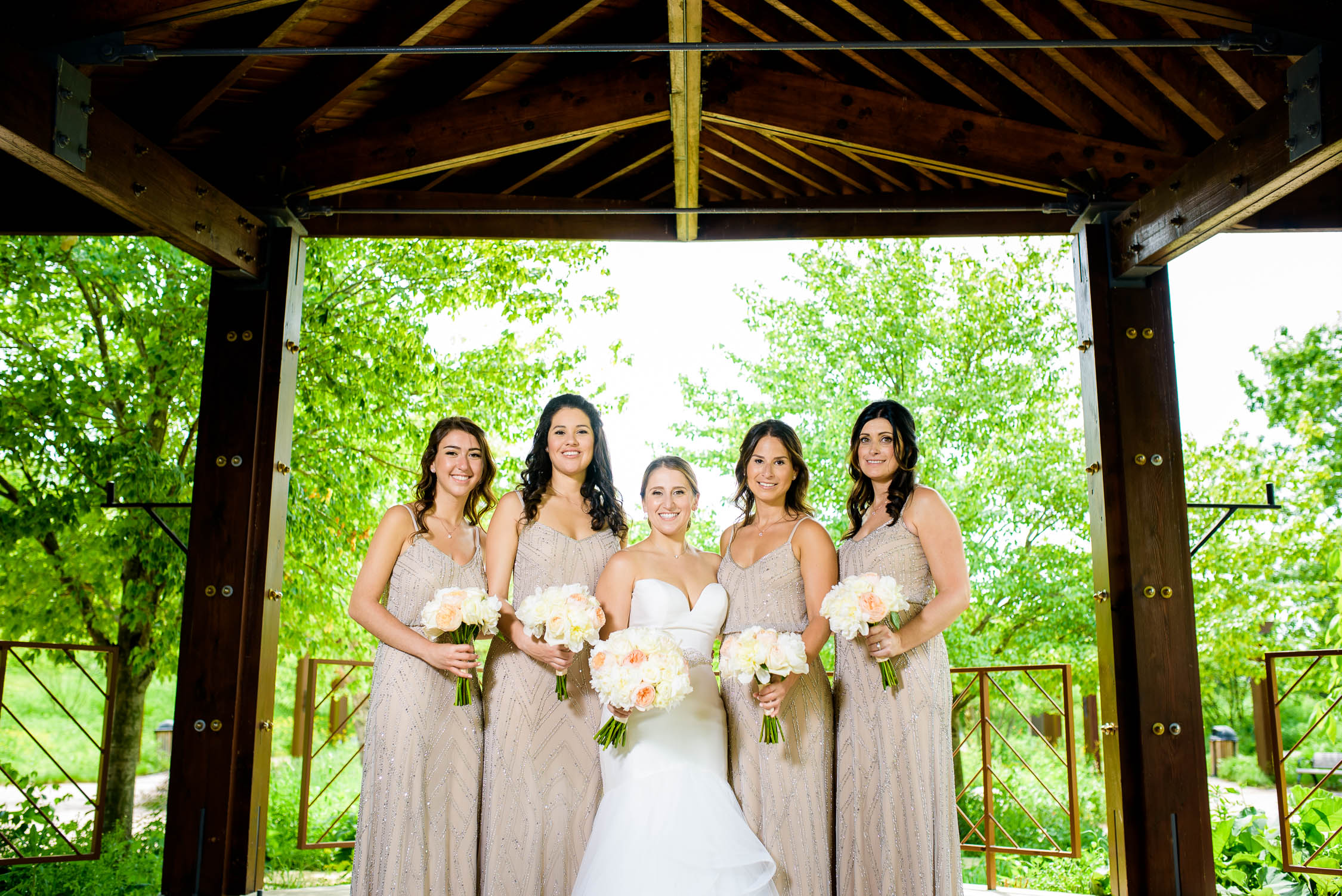 Bridesmaids before a wedding at Independence Grove in Libertyville.