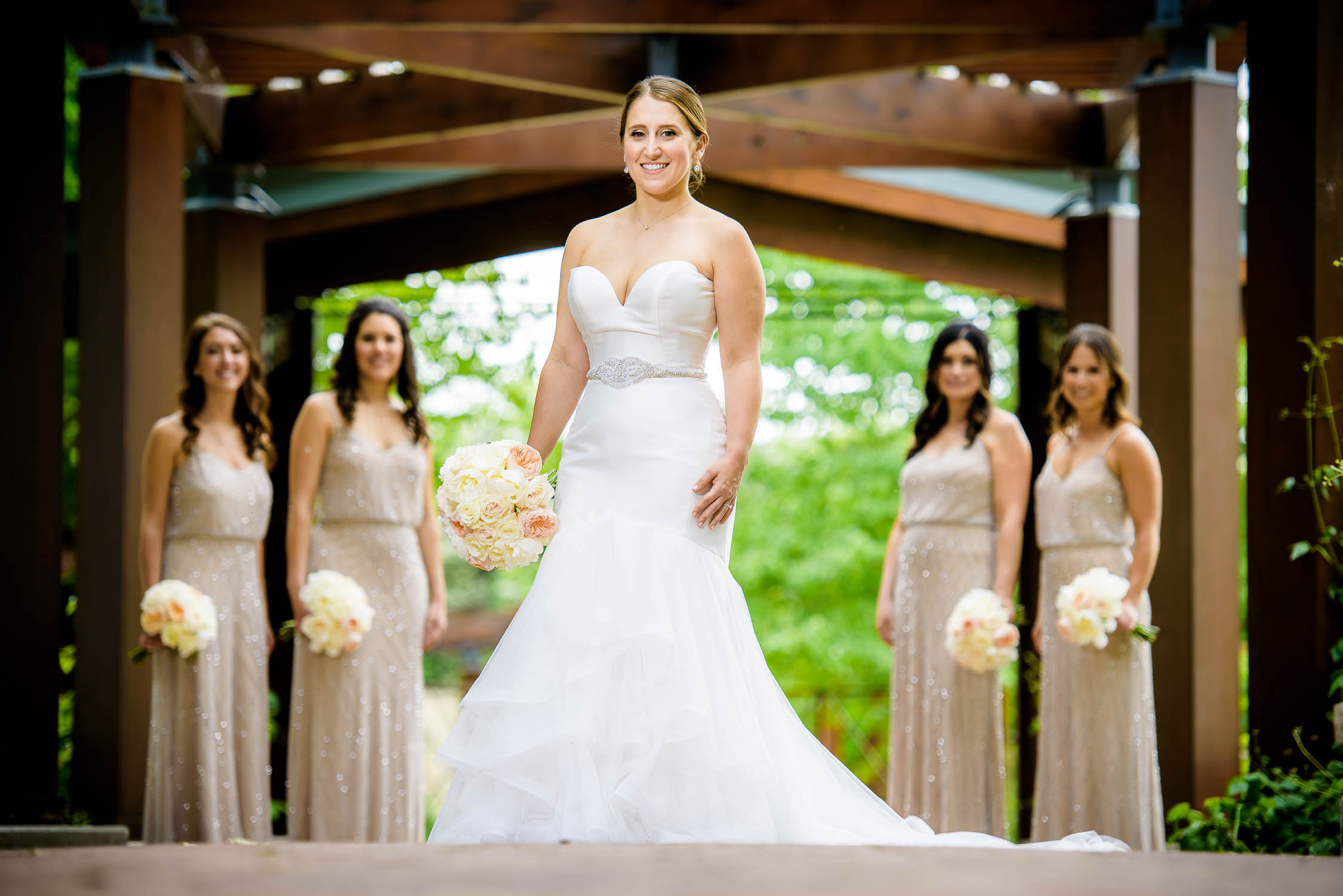 Bride and bridesmaids before a wedding at Independence Grove in Libertyville.