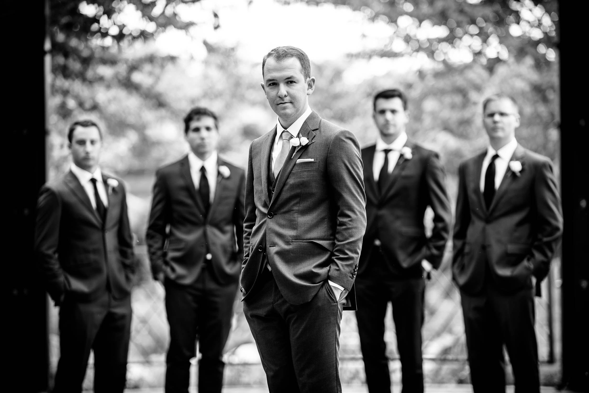 The groomsmen before a wedding at Independence Grove in Libertyville.