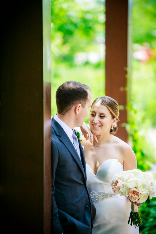 Bride and groom share a moment together on their wedding day at Independence Grove in Libertyville.