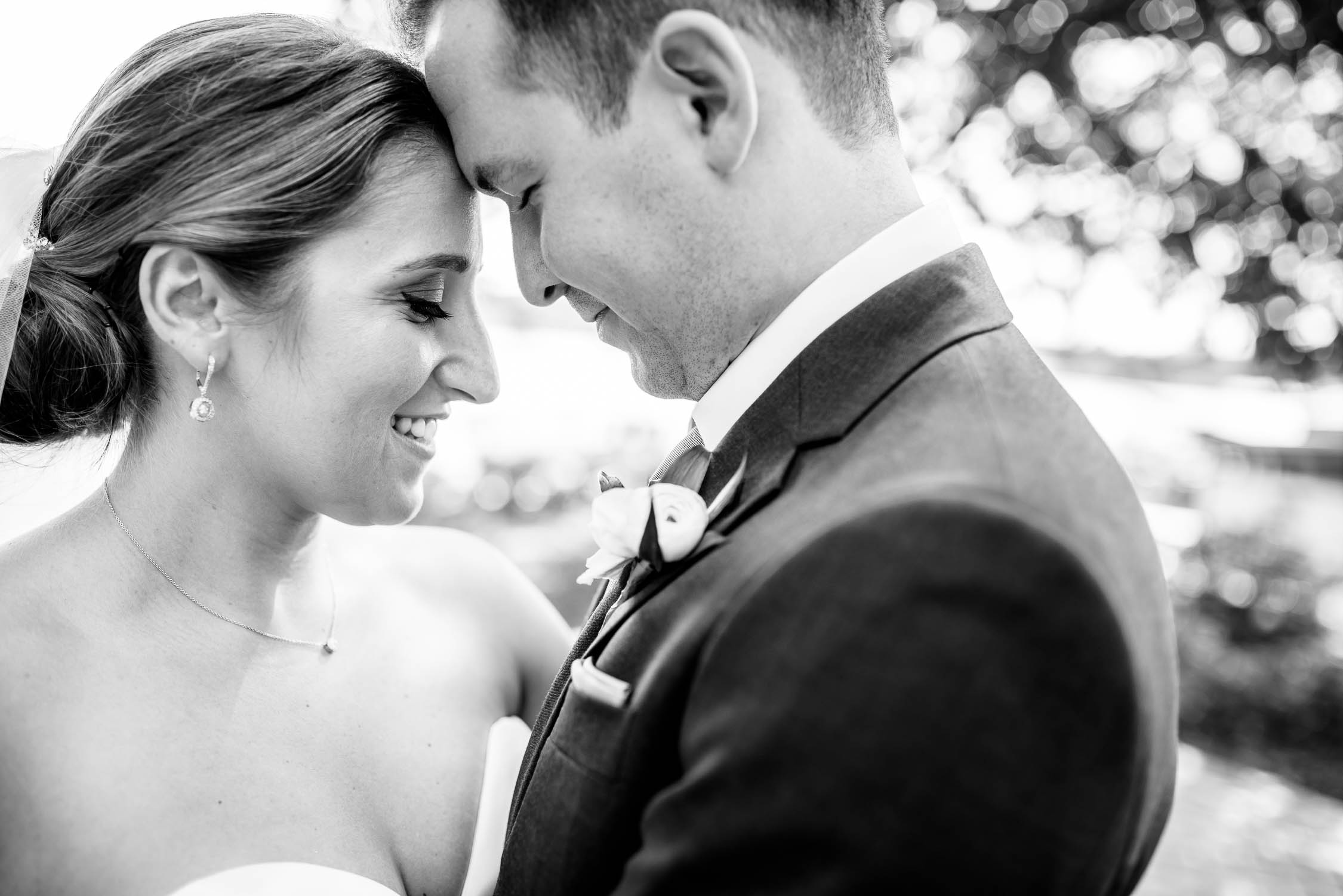 Moment with the bride and groom on their wedding day at Independence Grove in Libertyville.