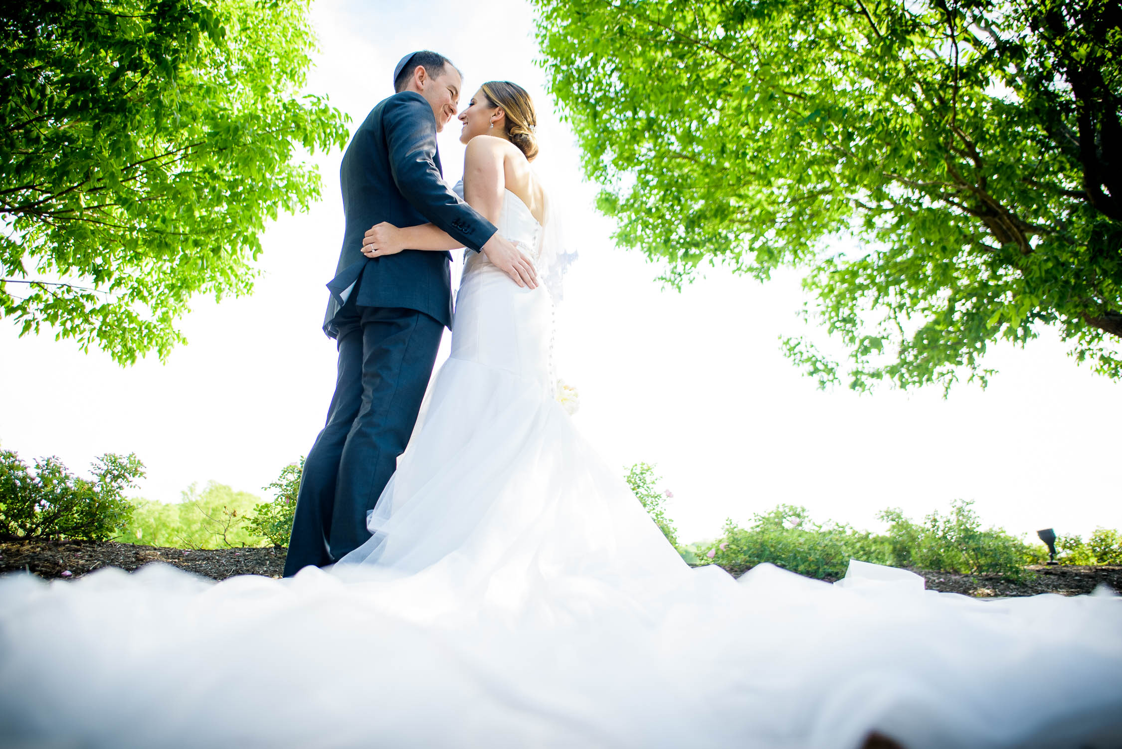 Creative wedding day portrait at Independence Grove in Libertyville.