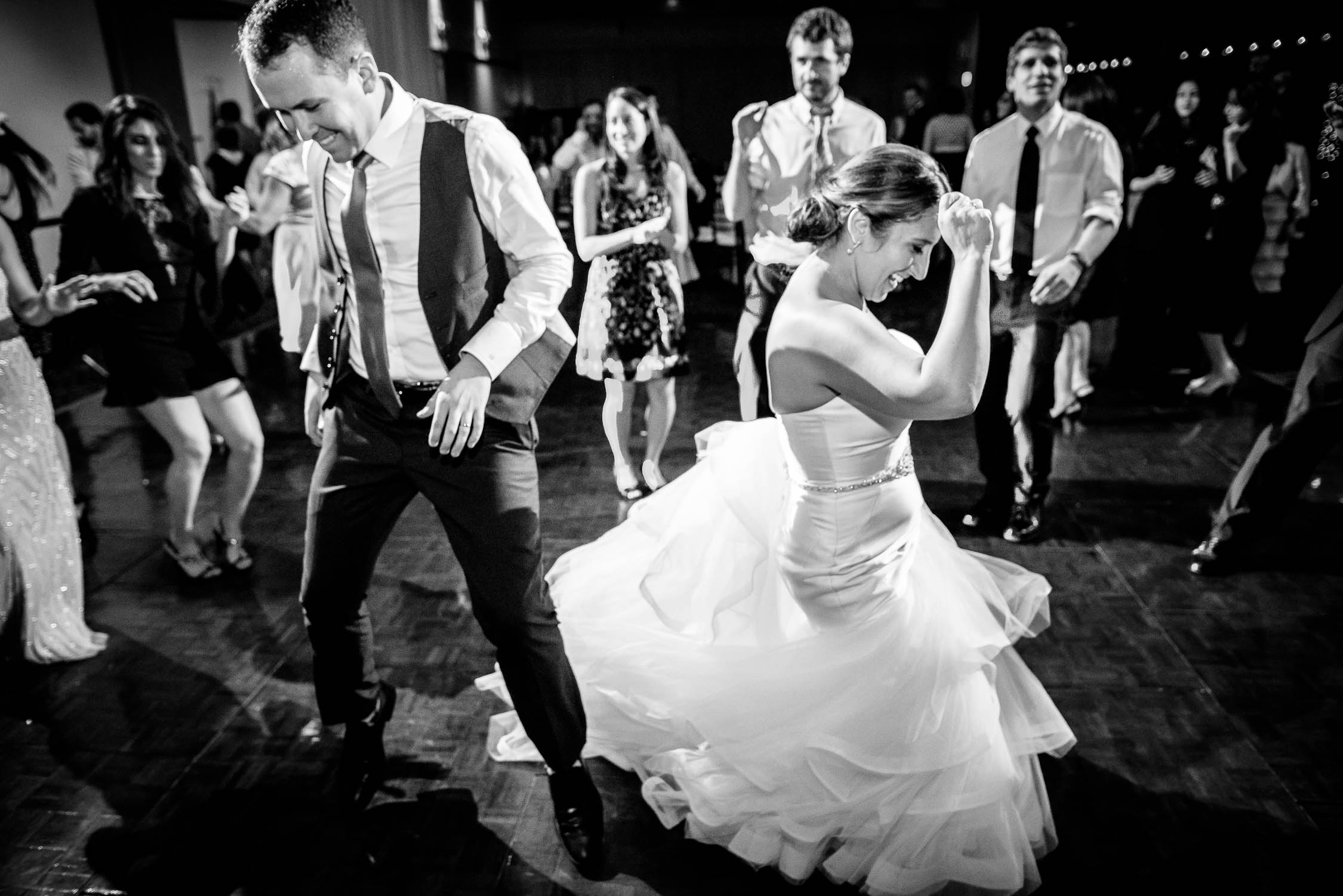 Bride and groom dance the night away during their wedding reception at Independence Grove in Libertyville.