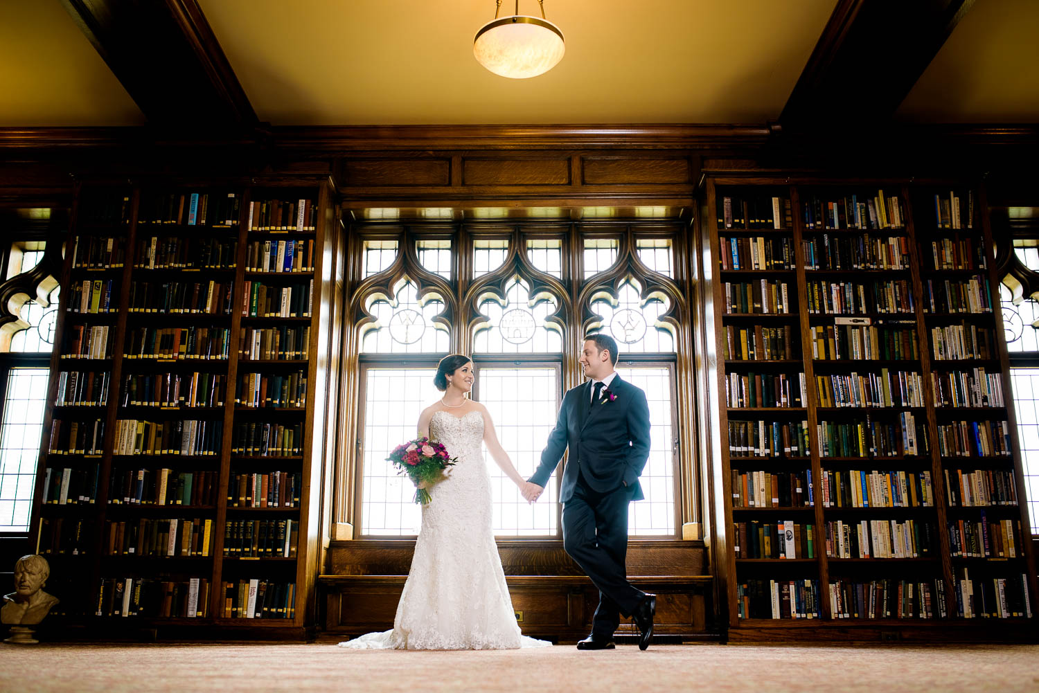 Portrait of bride & groom in the Library at their University Club of Chicago wedding.