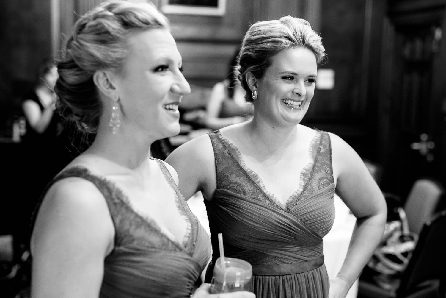 Bridesmaids getting ready before a University Club of Chicago wedding.