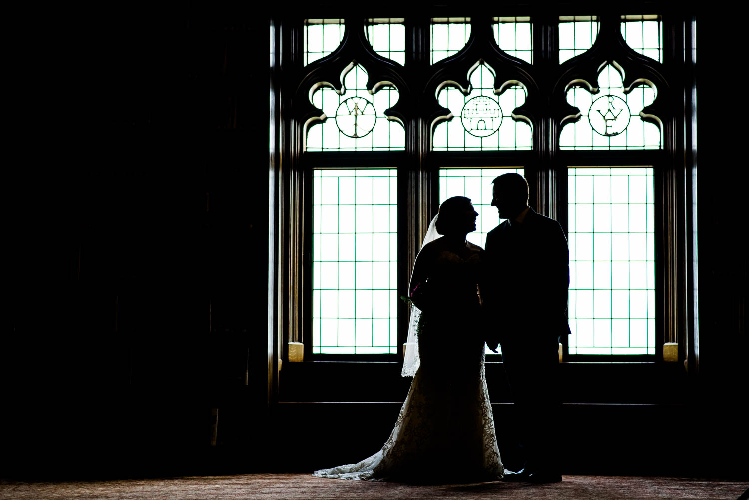 Creative portrait in the Library during a University Club of Chicago wedding.