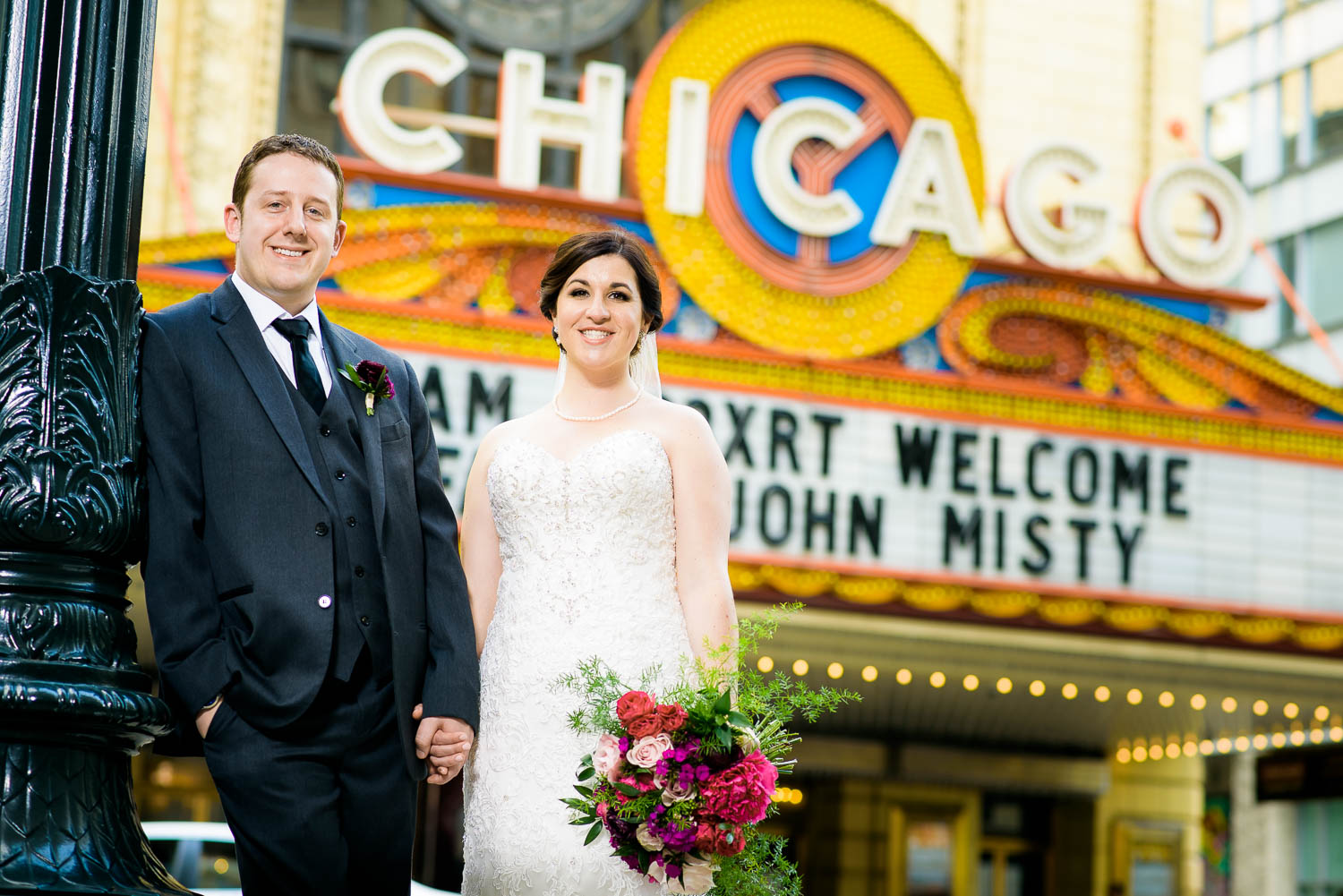 Chicago wedding portrait outside the Chicago Theater.