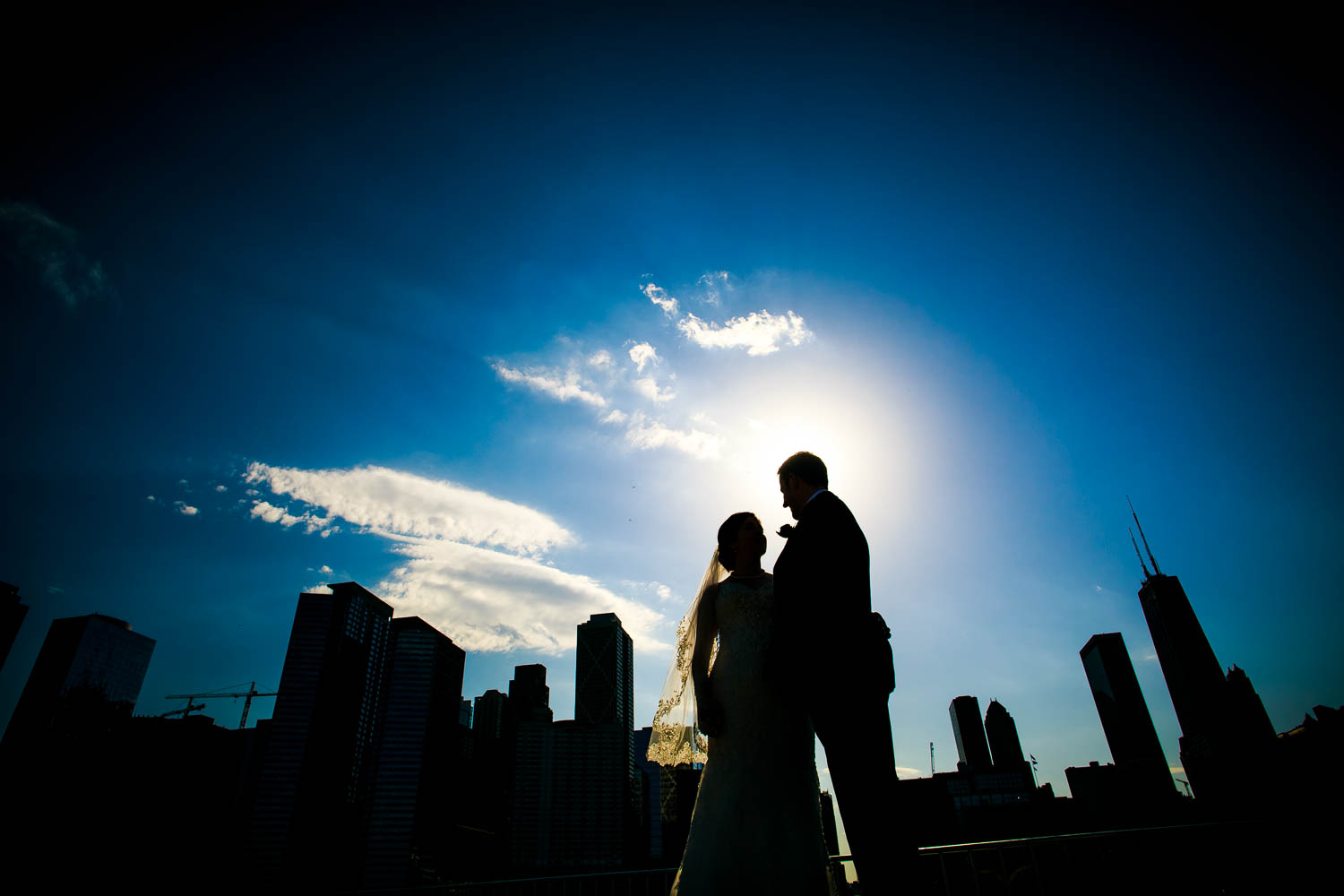 Creative wedding portrait at Olive Park during a Chicago wedding.
