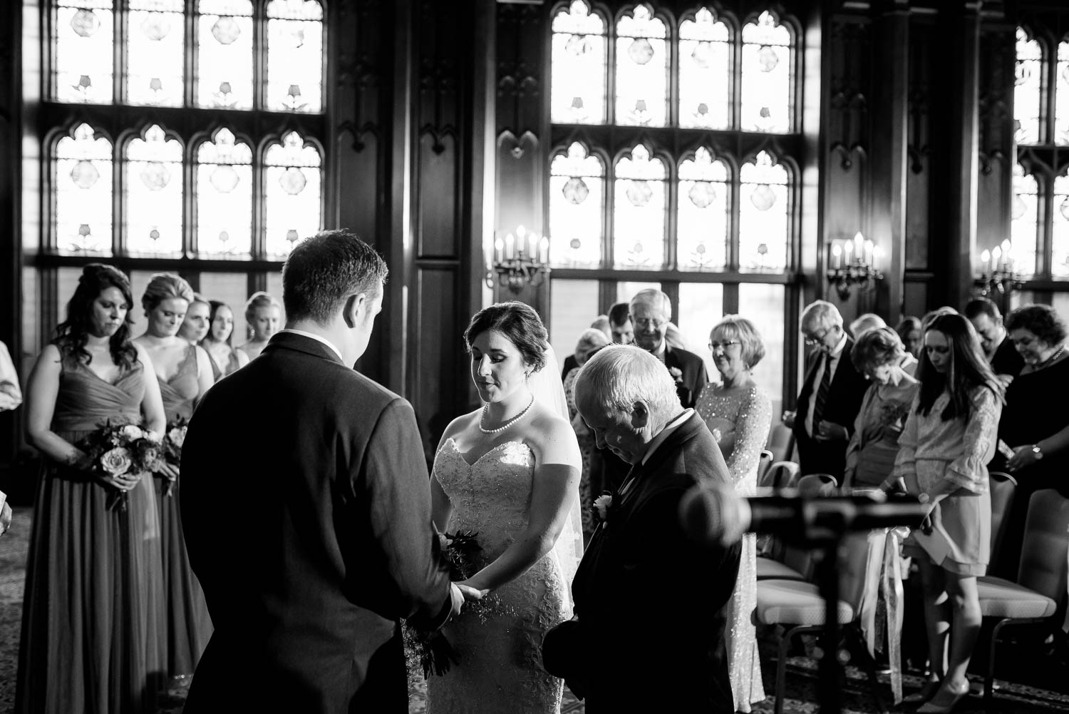Wedding ceremony in the Michigan room during a University Club of Chicago wedding.
