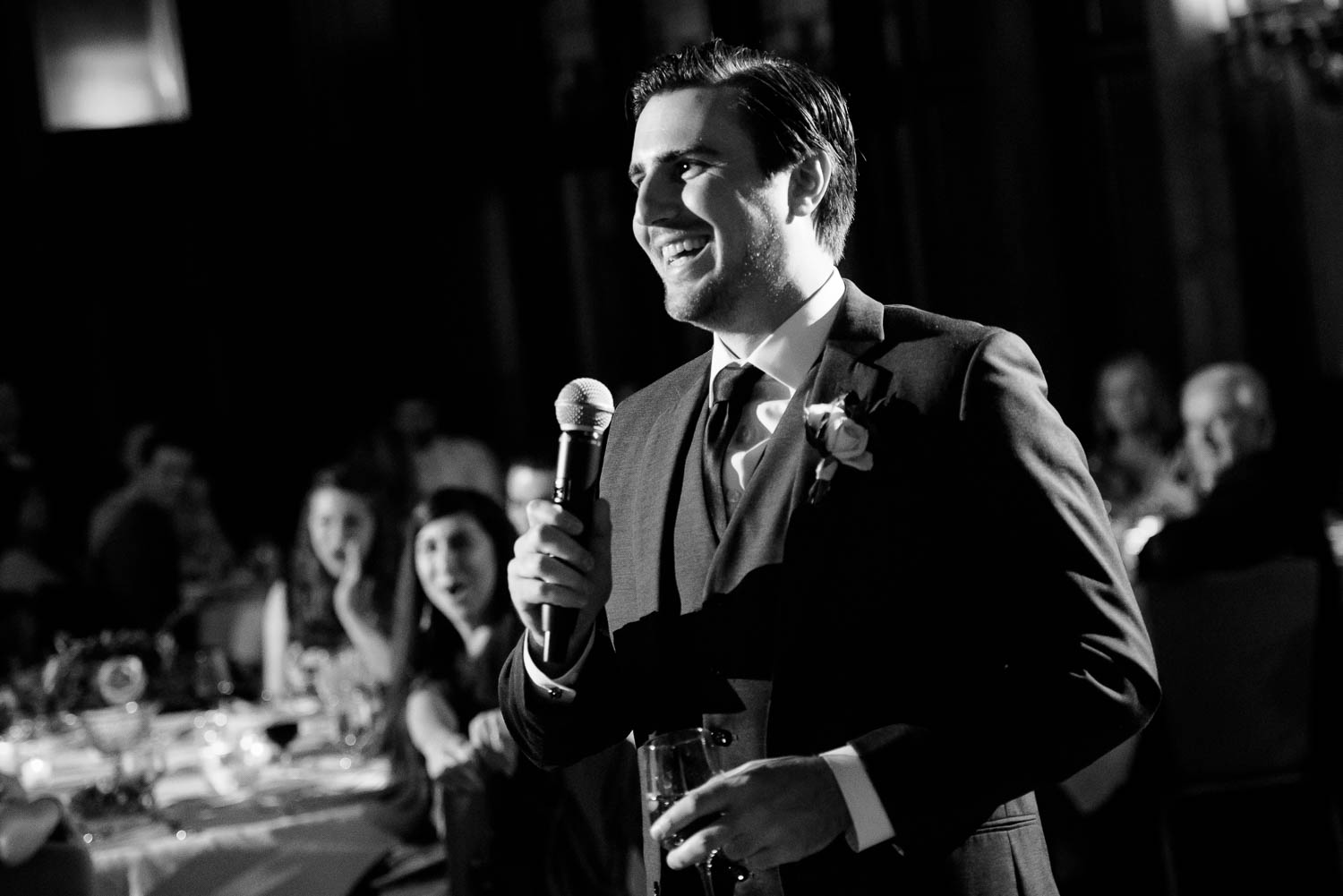 Best man toast during a University Club of Chicago wedding.