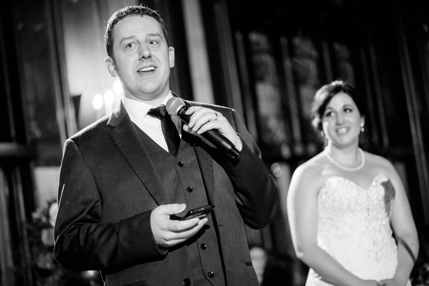 Couple's thank you speech during a University Club of Chicago wedding.