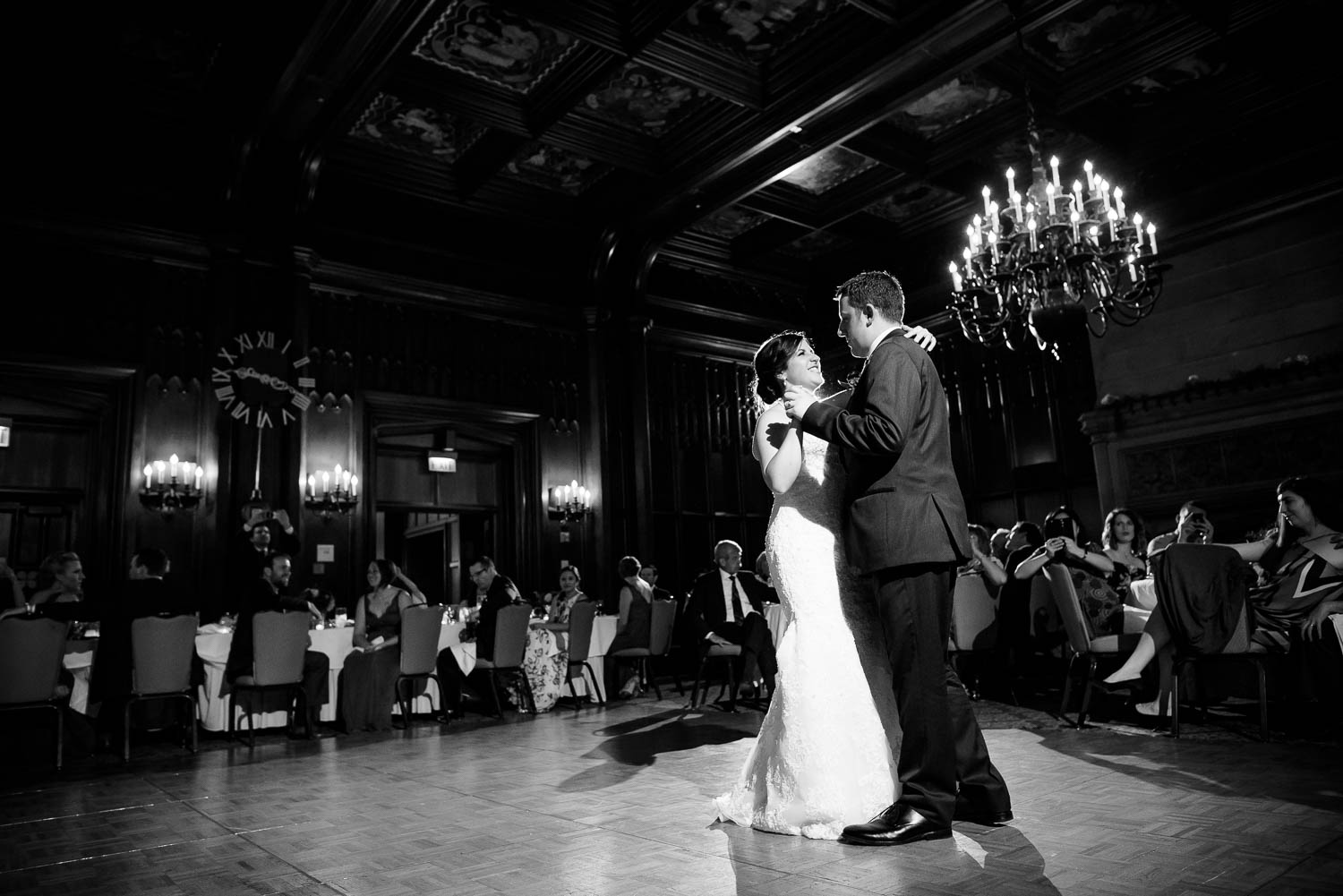 First dance in the Michigan Room during a University Club of Chicago wedding.
